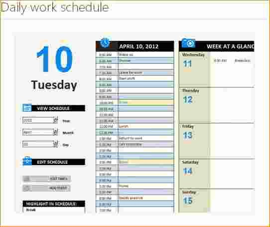 Daily Work Schedule Template Excel Unique 4 Excel Daily Schedule Template