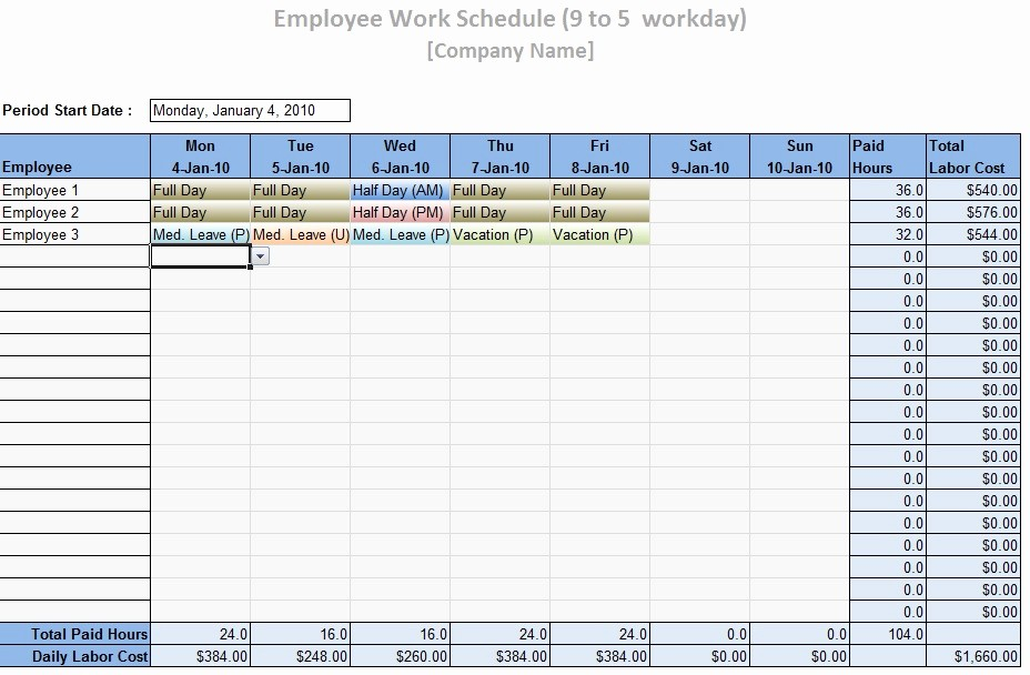 Daily Work Schedule Template Excel Unique Employee Work Schedule Template Word Excel