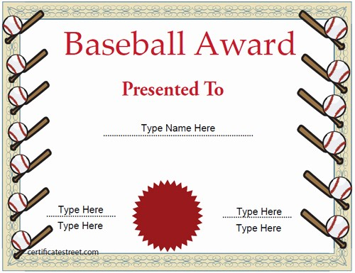 Dance Certificate Templates for Word Awesome Baseball Certificate Template