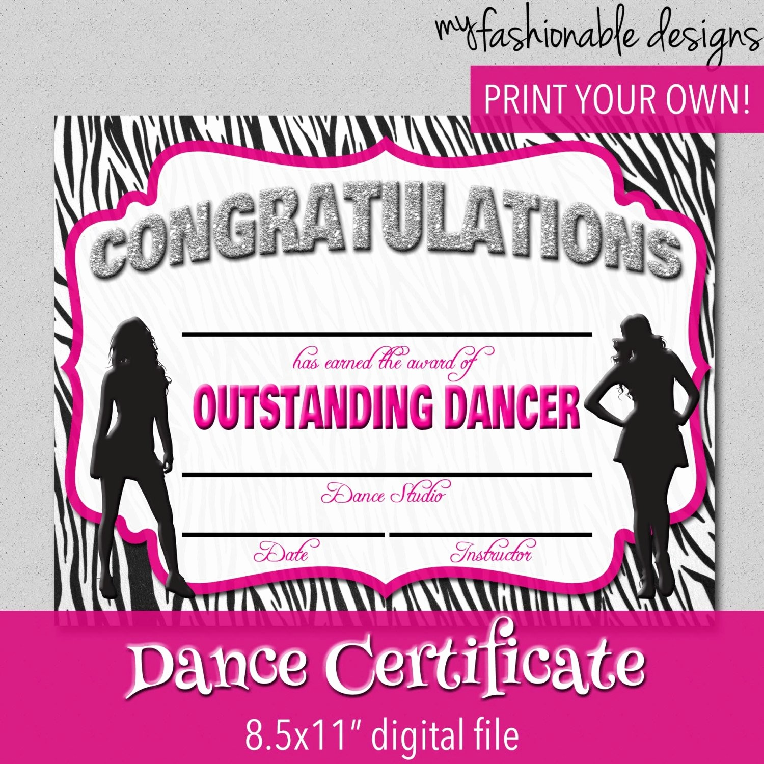 Dance Certificate Templates for Word Awesome Dance Certificate Print Your Own Instant by