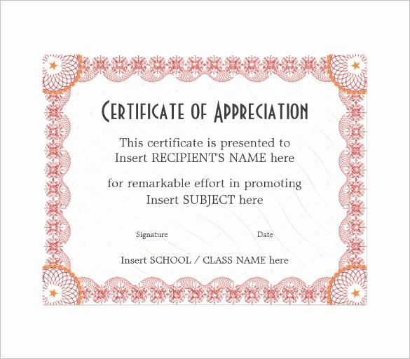 Dance Certificate Templates for Word Beautiful 29 Certificate Of Appreciation Templates Word Pdf Psd