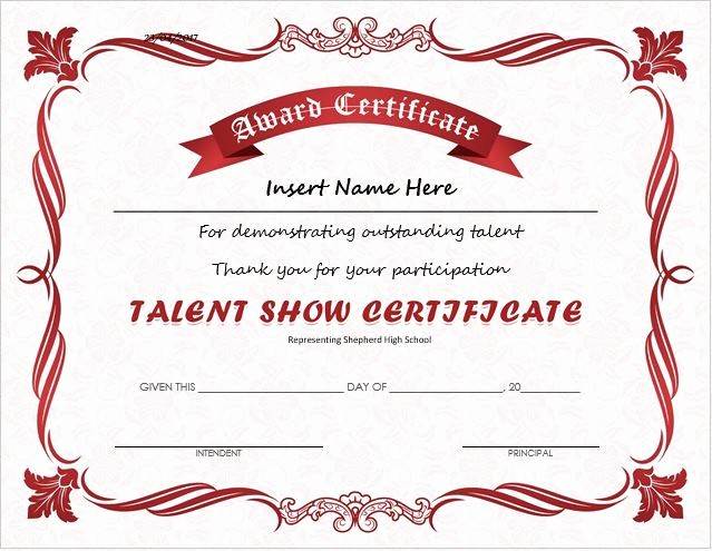 Dance Certificate Templates for Word Beautiful Talent Show Award Certificate Download at