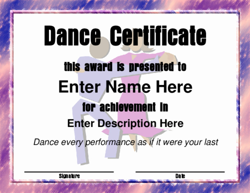 Dance Certificate Templates for Word Best Of Dance Award Certificate Template Moderndanceblack