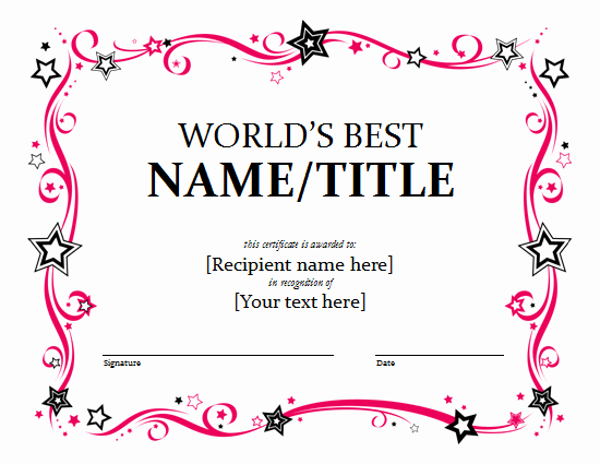 Dance Certificate Templates for Word Best Of Word Award Certificate Template Free Lt