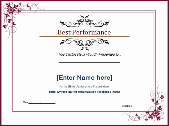 Dance Certificate Templates for Word Elegant Best Performance Award Certificate at Word Documents