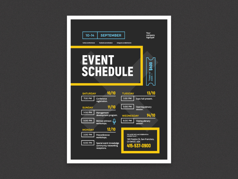 Day Of event Schedule Template Best Of event Schedule Poster by Everydaytemplate