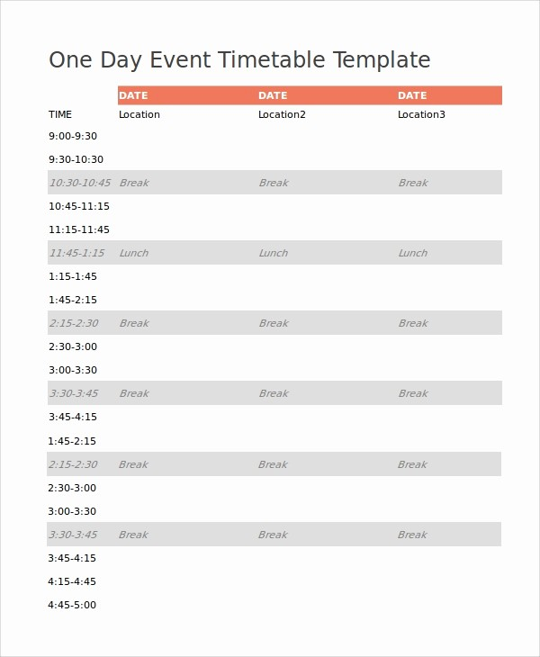Day Of event Schedule Template Elegant 7 event Timetable Templates