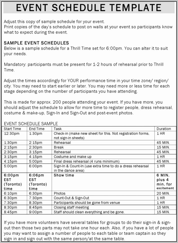 Day Of event Schedule Template Elegant Day event Schedule Template Template Resume