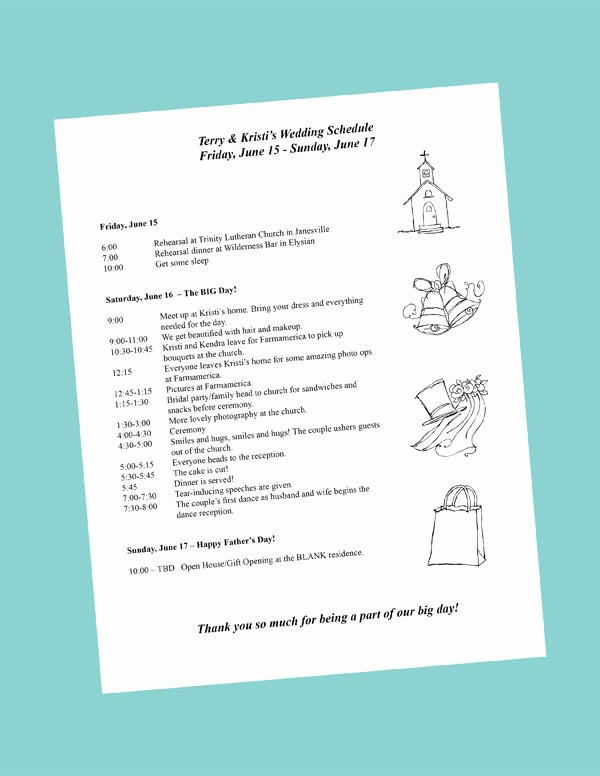 Day Of event Schedule Template Fresh Putting to Her Your Wedding Day Itinerary