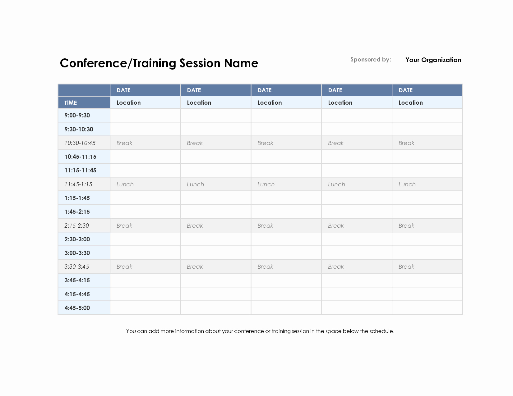 Day Of event Schedule Template Fresh Training Schedule Template Excel