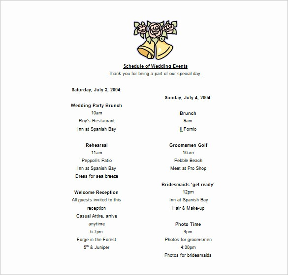 Day Of event Schedule Template Inspirational 14 event Schedule Templates Word Excel Pdf