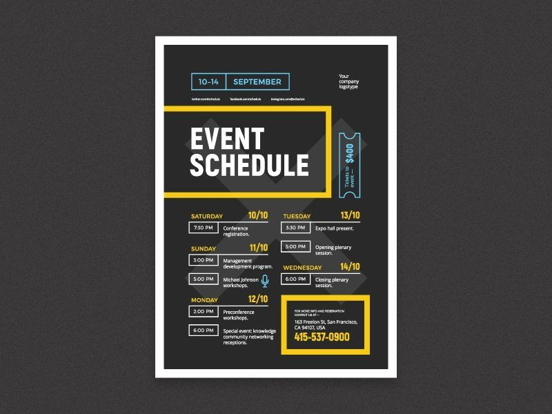 Day Of event Schedule Template Inspirational Schedule event Poster Template Graphics