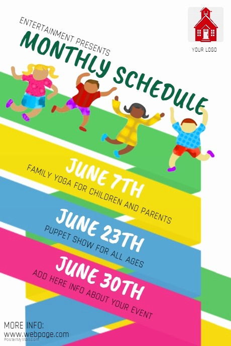 Day Of event Schedule Template Lovely Monthly event Schedule for Kids Flyer Template