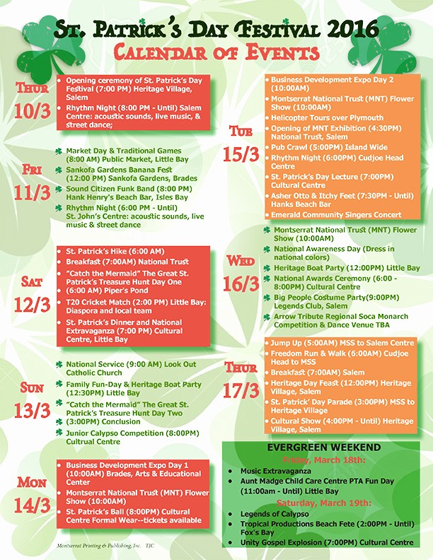 Day Of event Schedule Template Lovely St Patrick's Day Festival 2016 – Calendar Of events