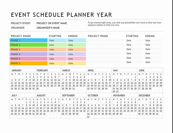 Day Of event Schedule Template Luxury event Planner