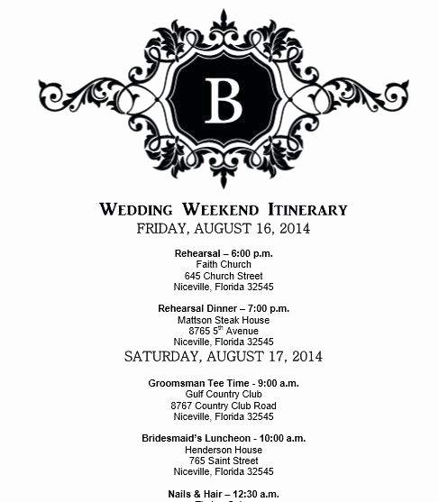 Day Of event Schedule Template New Wedding Schedule Of events Template