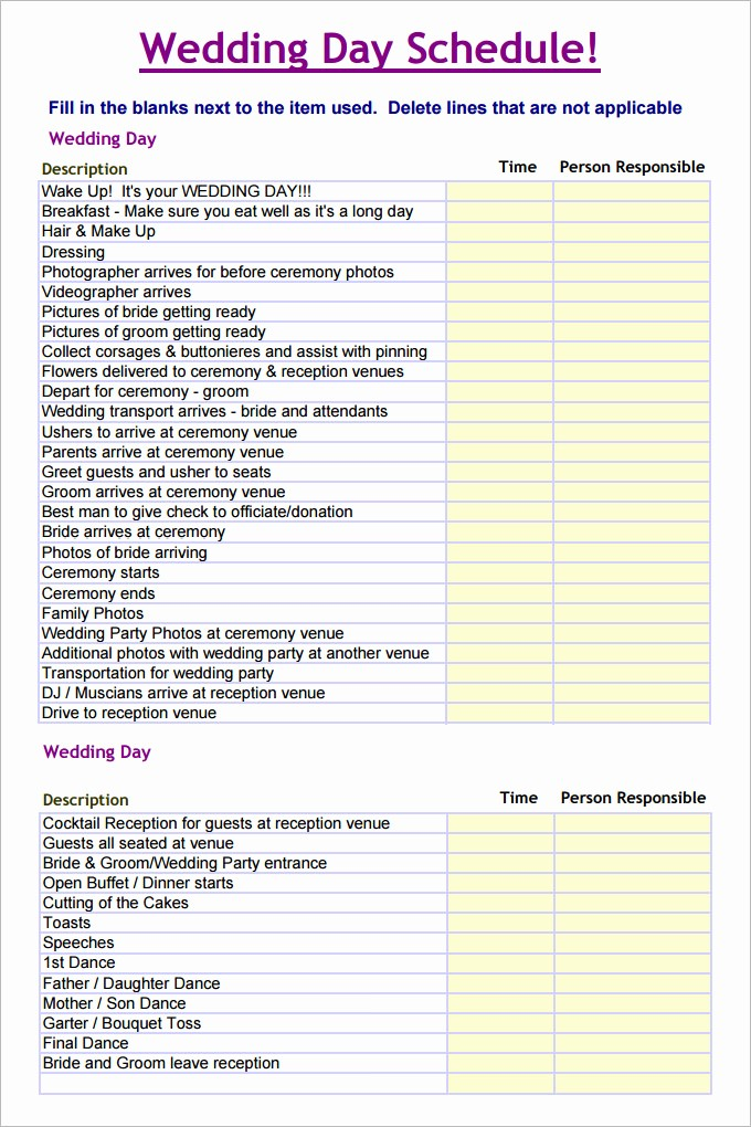 Day Of event Timeline Template Elegant 28 Wedding Schedule Templates & Samples Doc Pdf Psd