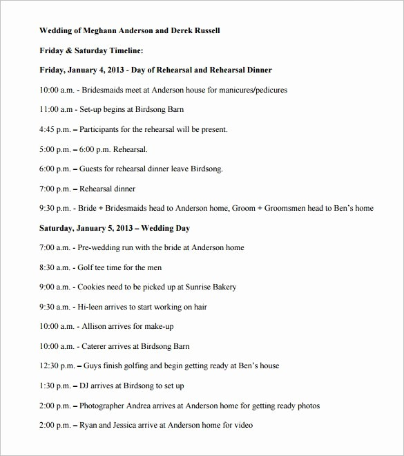 Day Of event Timeline Template Fresh 32 Wedding Timeline Templates Free Sample Example