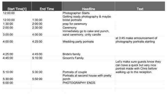Day Of event Timeline Template Lovely Wedding Day Schedule events