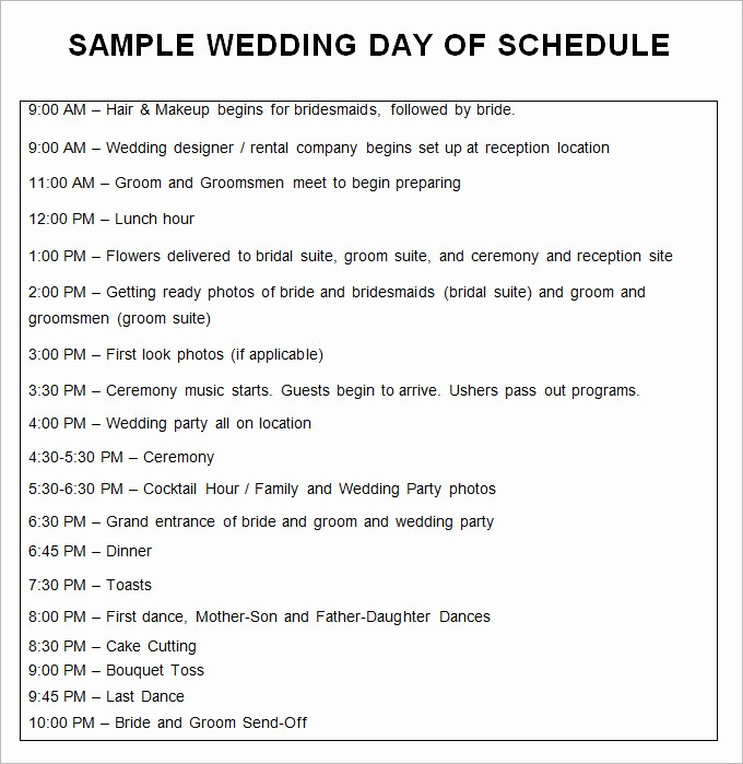 Day Of event Timeline Template Unique 28 Wedding Schedule Templates & Samples Doc Pdf Psd