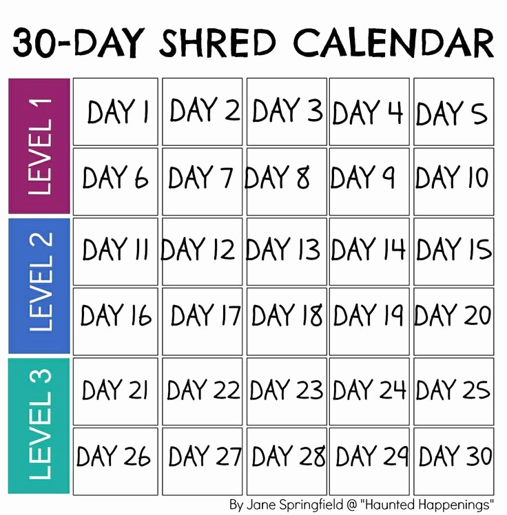 "Day to Day Schedule Template Beautiful Calendar Template for Jillian Michael S ""30 Day Shred"" to"