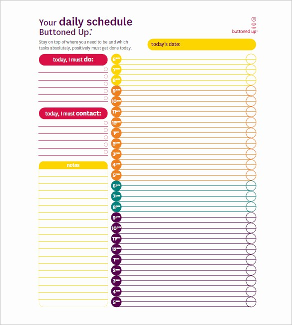 Day to Day Schedule Template Fresh Day Schedule Template – 7 Free Word Excel Pdf format