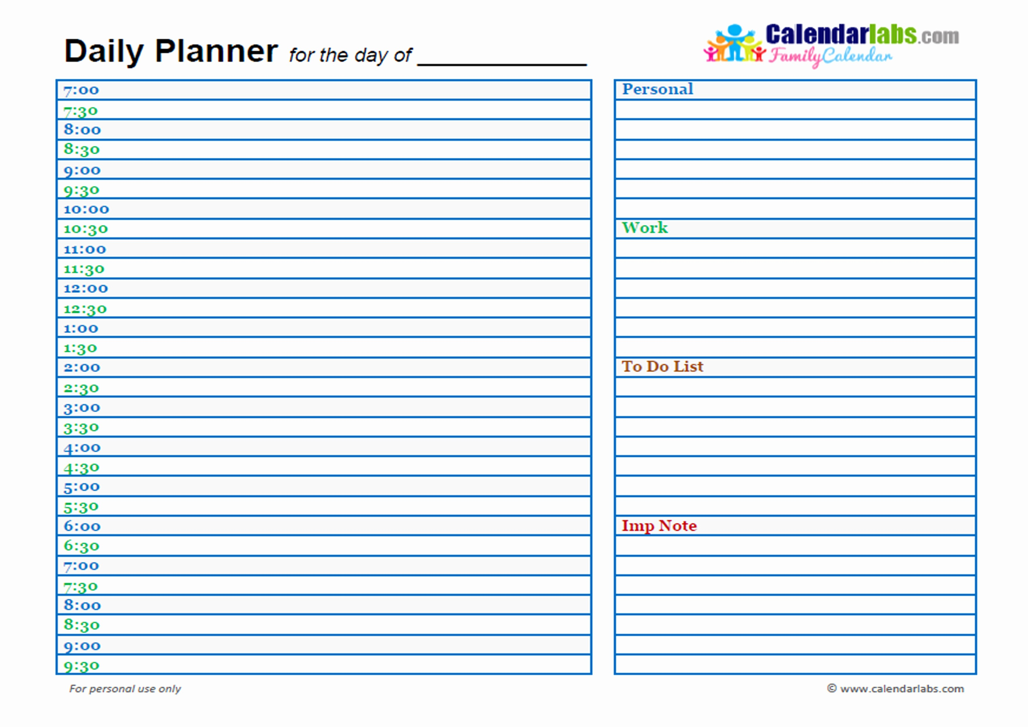 Day to Day Schedule Template Inspirational 2017 Family Day Planner Free Printable Templates
