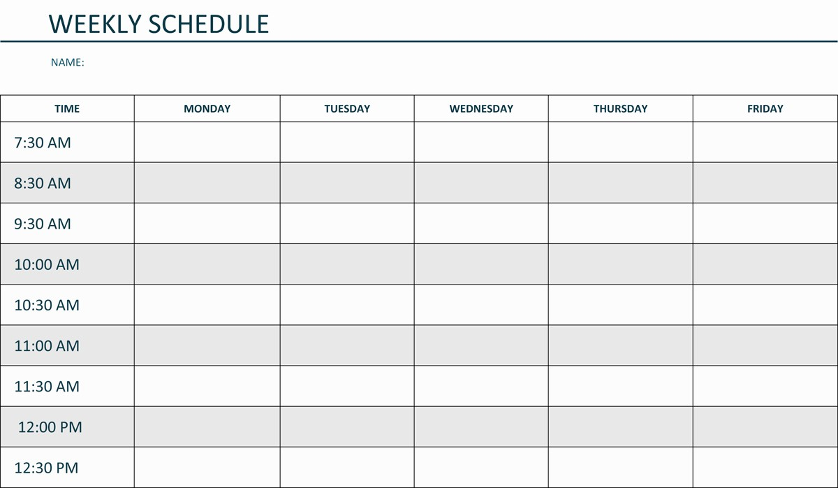 qualified weekly college or student schedule template sample
