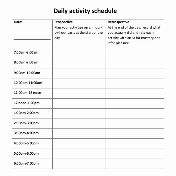 Day to Day Schedule Template Unique Daily Schedule Template 37 Free Word Excel Pdf