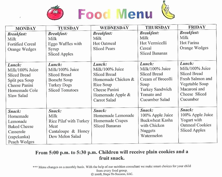 Daycare Menu Templates Free Download Awesome Preschool Snack Menu Ideas Template Free Daycare Food