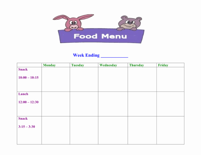 Daycare Menu Templates Free Download Best Of Free Printable Daycare Menus