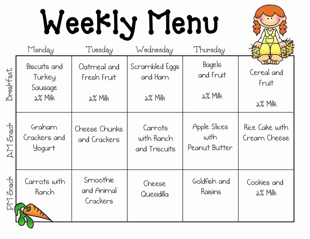 Daycare Menu Templates Free Download Best Of Weekly Menu Template for Daycare