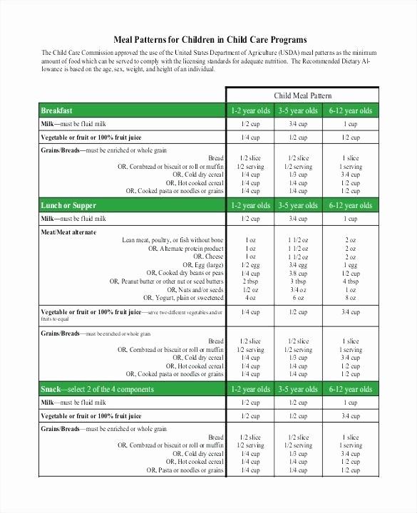 Daycare Menu Templates Free Download Elegant Printable Daycare Menu Template Cycle Finding Ideas for
