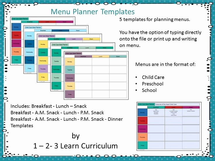Daycare Menu Templates Free Download Inspirational 17 Best Images About 1 2 3 Learn Curriculum On