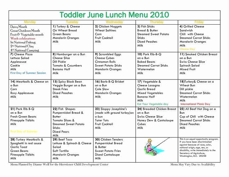Daycare Menu Templates Free Download Inspirational Daycare Food Menu Template Printable 30 Best Daycare Menus