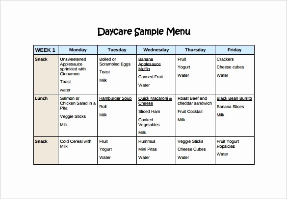 Daycare Menu Templates Free Download Inspirational Weekly Menu Template for Daycare