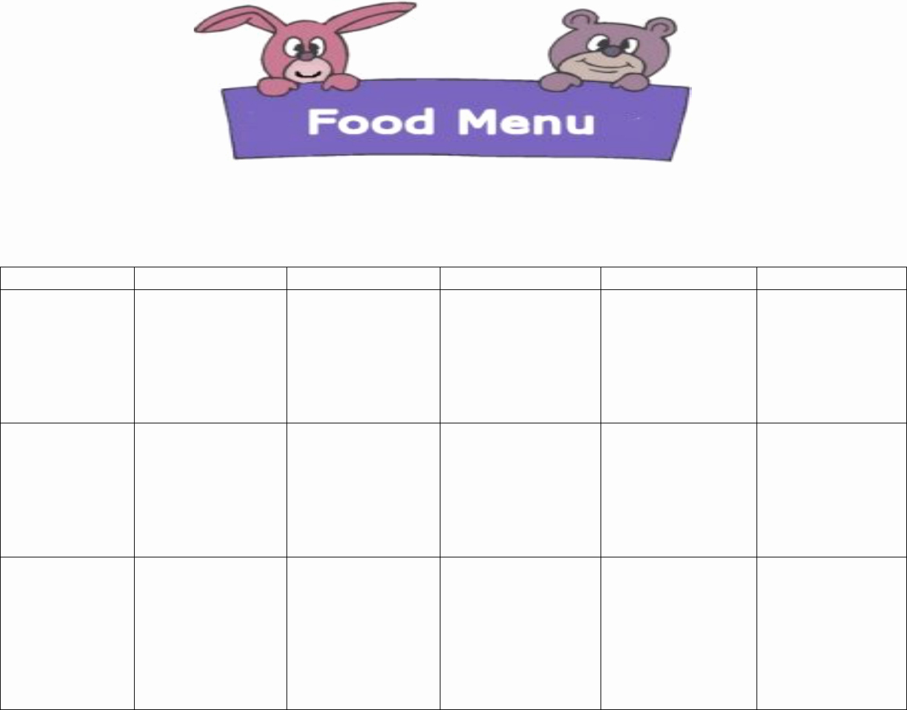 Daycare Menu Templates Free Download Luxury Daycare Food Menu Template In Word and Pdf formats