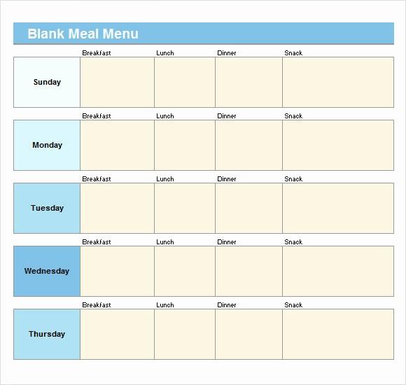 Daycare Menu Templates Free Download New 21 Blank Menus