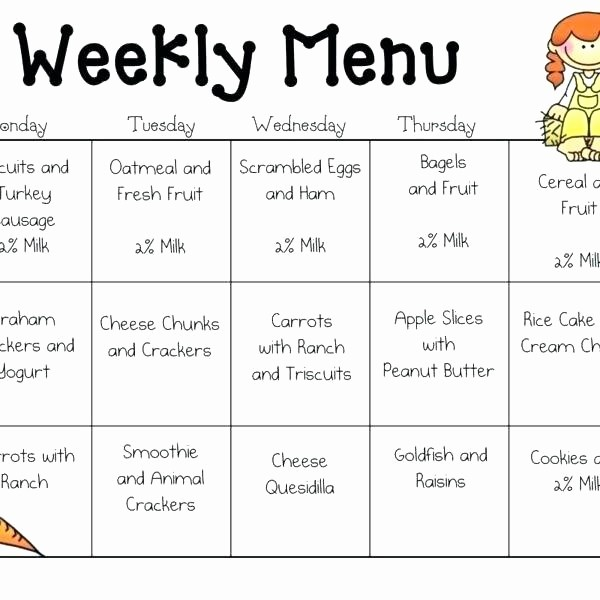 Daycare Menu Templates Free Download New Printable Sample Day Care Menu Food Childcare Lunch Google