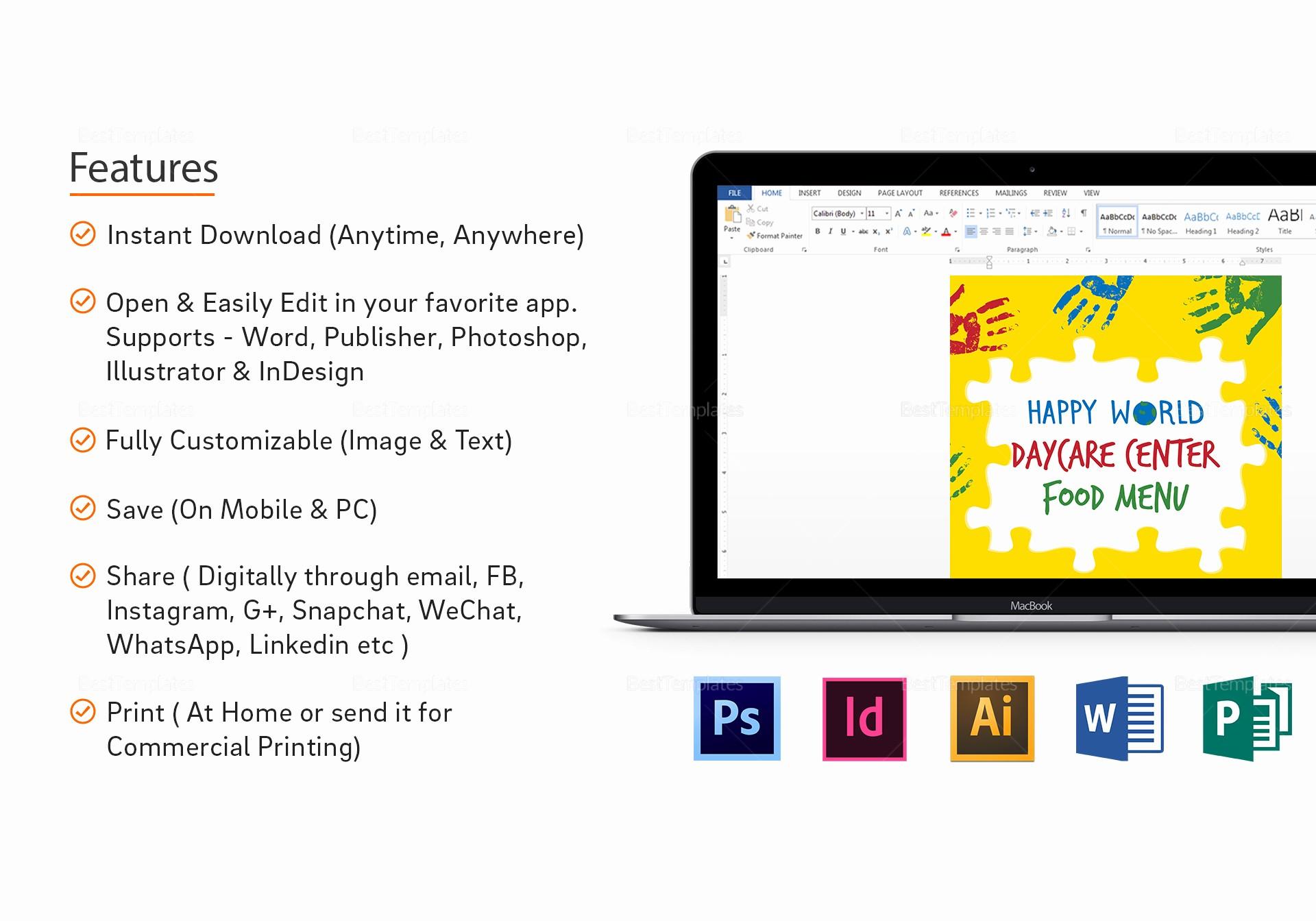 Daycare Menu Templates Free Download Unique Daycare Center Menu Design Template In Psd Word