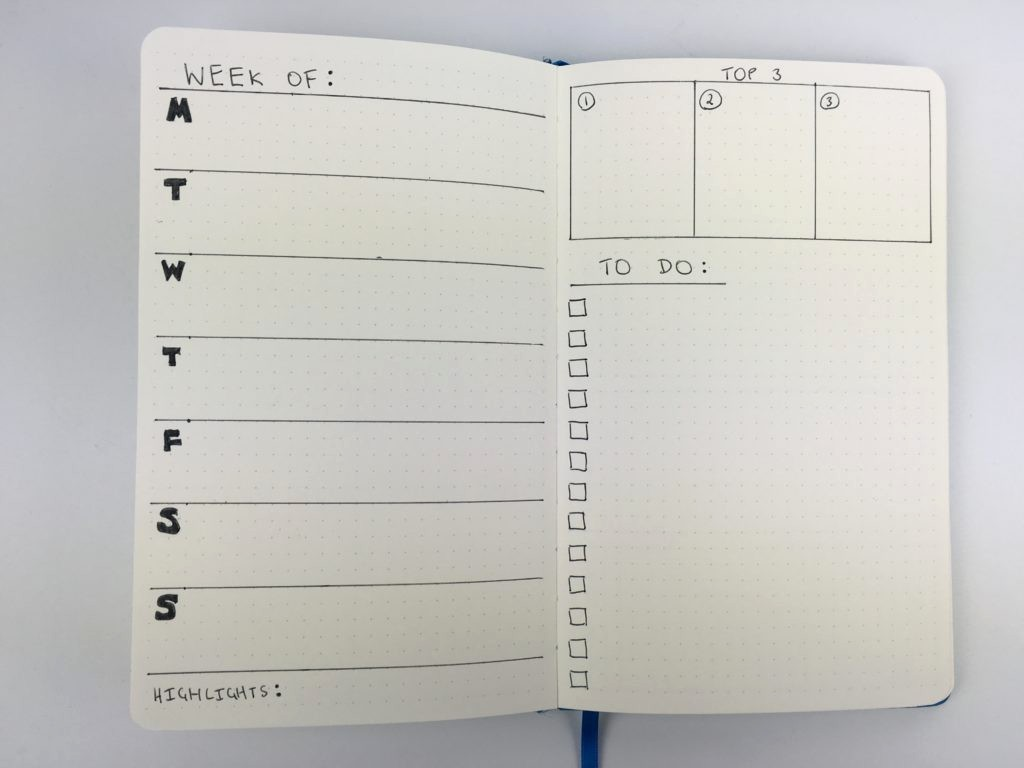 Days Of the Week Horizontal Awesome Bullet Journal Ideas 26 Weekly Spread Layouts to Try