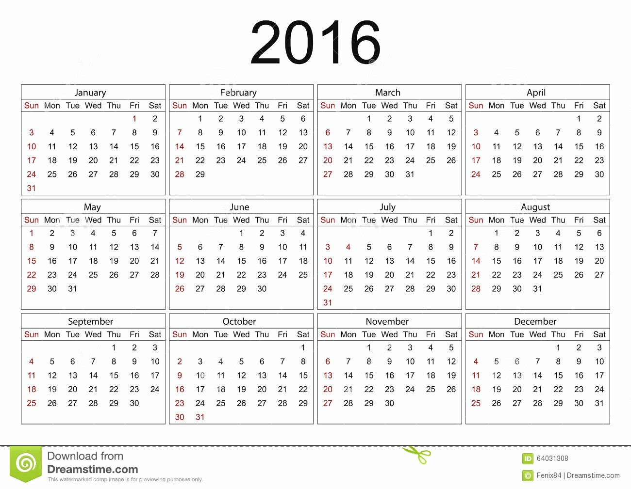 Days Of the Week Horizontal Beautiful Calendar for 2016 White Background Stock Vector