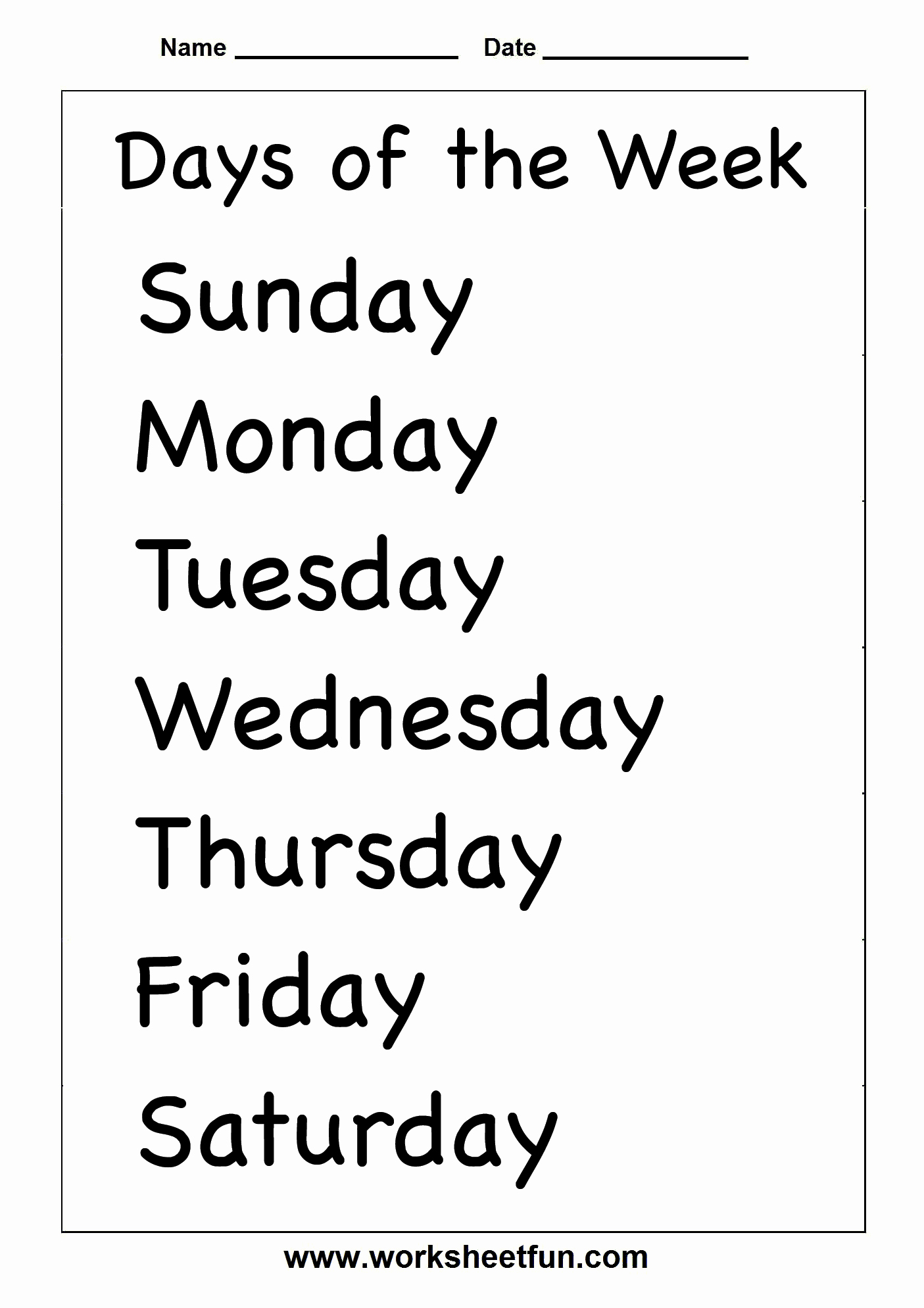 Days Of the Week Horizontal Beautiful Days Of the Week – 2 Worksheets Free Printable