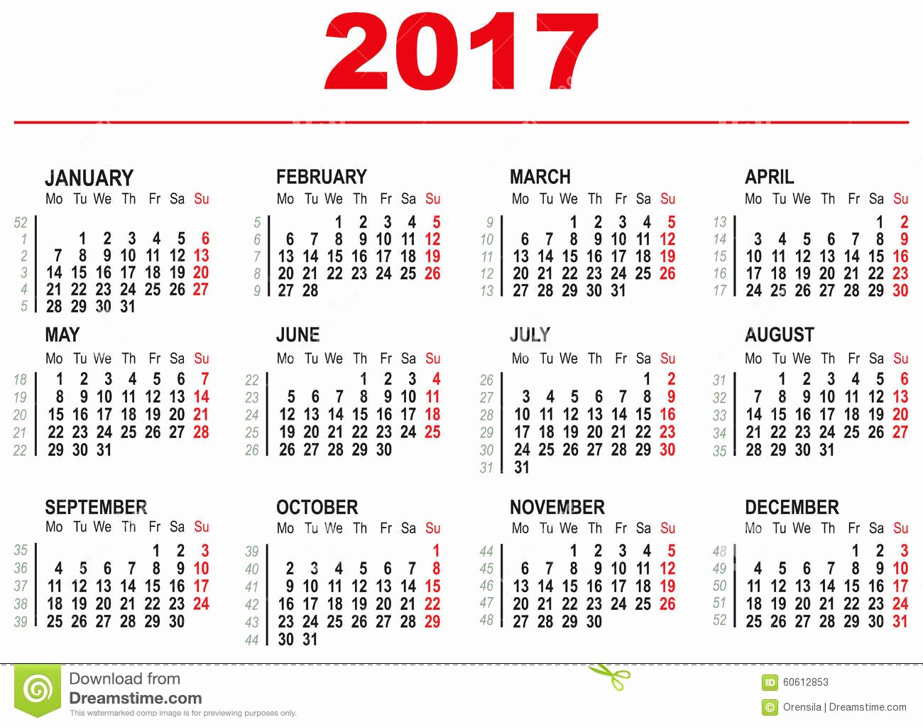 Days Of the Week Horizontal Best Of 2017 Calendar Template Horizontal Weeks First Day Monday