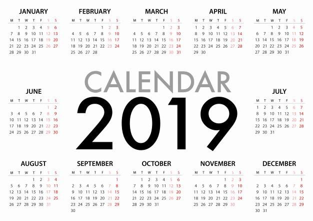 Days Of the Week Horizontal Best Of Calendário Para A Semana 2019 Eça Segunda Feira