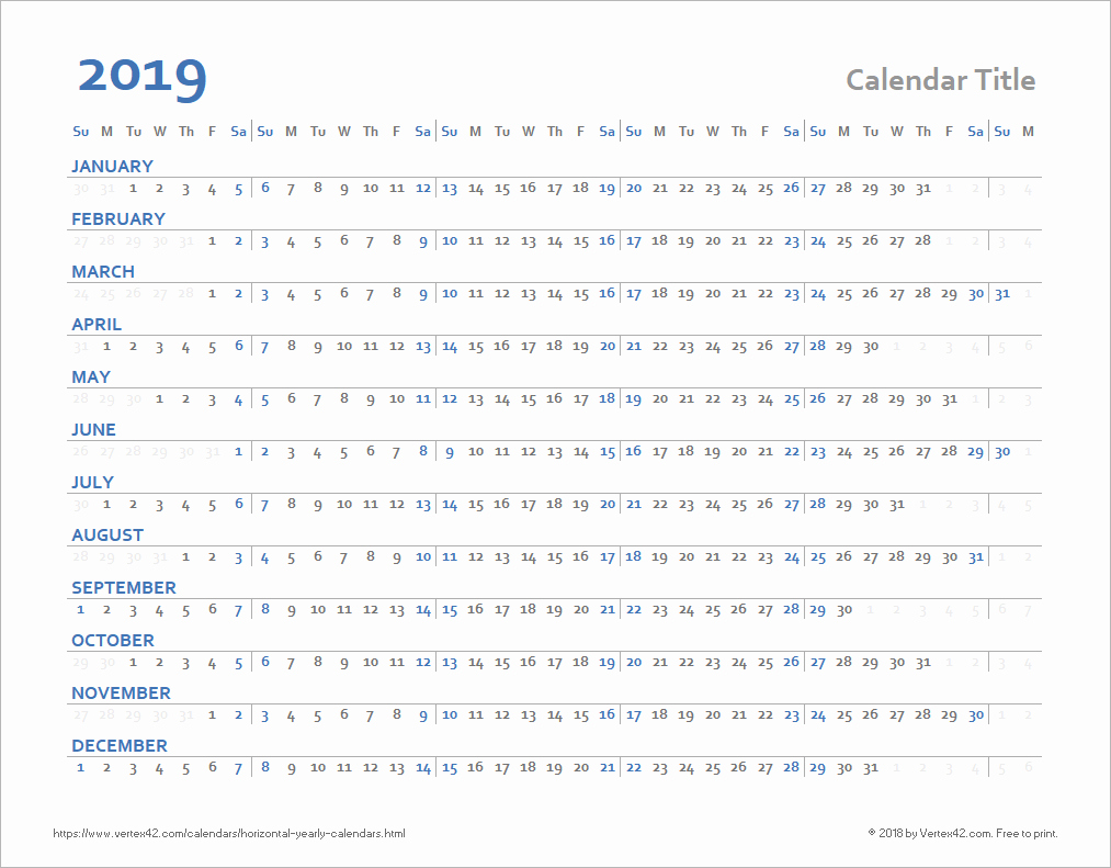 Days Of the Week Horizontal Best Of Horizontal Yearly Calendar Templates