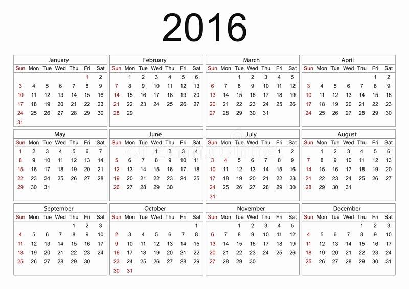Days Of the Week Horizontal Elegant Calendar for 2016 White Background Stock Vector