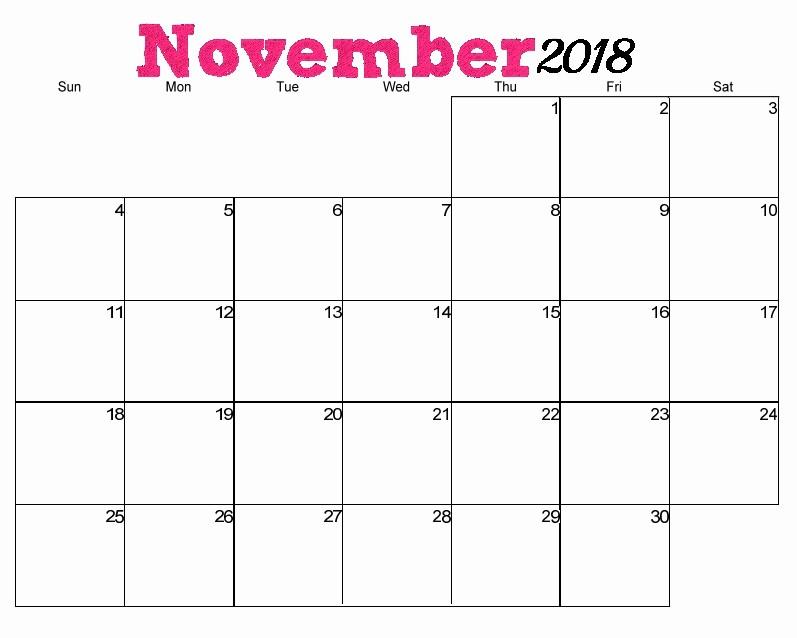 Days Of the Week Horizontal Elegant Free Printable 2018 Horizontal Calendar