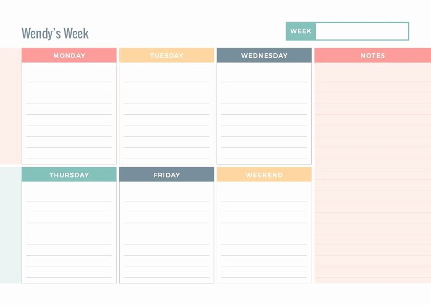 Days Of the Week Horizontal Elegant Just Peachy Weekly Planner Notepad Padtastic