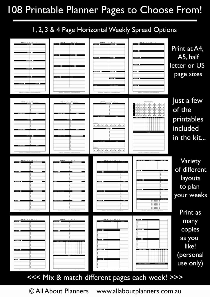 Days Of the Week Horizontal Elegant the Create Your Own Planner Kit 108 Printable Pages to